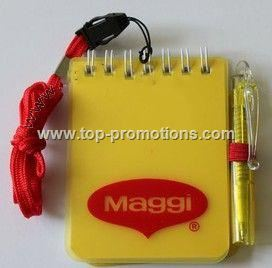 notepad with pen and neck strap