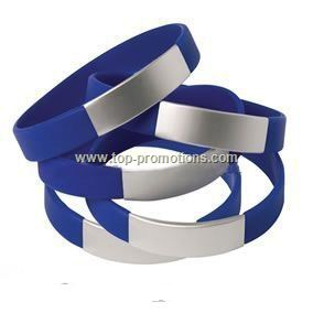 Silicone Wrist Band with Aluminium Plate