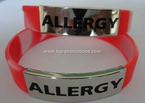 Silicone Wristband with Steel Plate