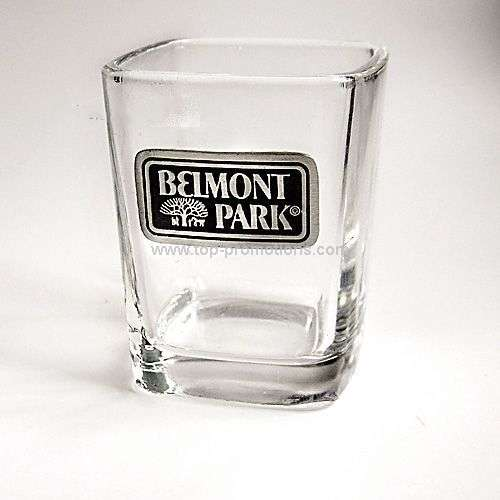 Square Shot Glass with Pewter Emblem