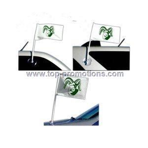 Car flag with suction cup sticks vertically or hor