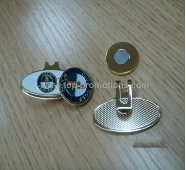 Golf ball marker hat clip divot tool with magnet