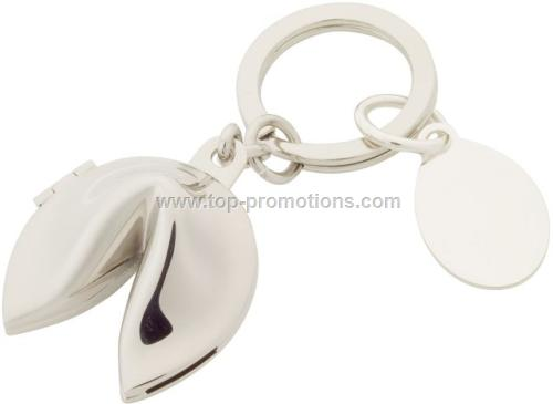 Silver Fortune Cookie Keychain