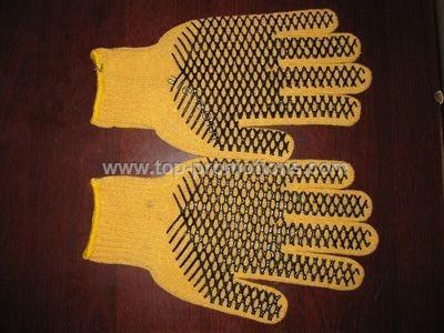 PVC palm dotted knit gloves