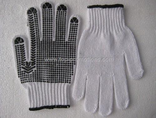 Black PVC Palm Dotted Knit Gloves