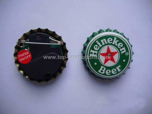 LED flashing bottle cap pin