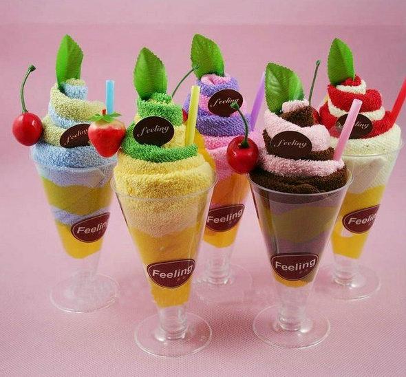Cute 100 Pure Cotton Goblet Ice Cream Cake Towel