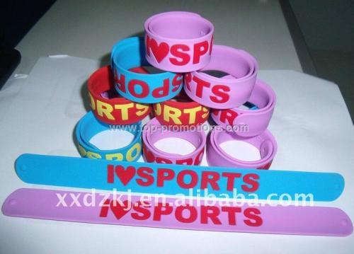 Hot selling silicone slap bracelet,wrist slapper,s