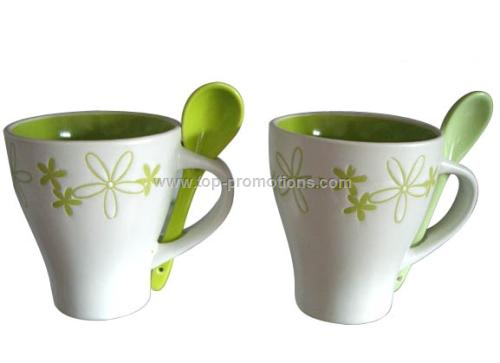 10oz Stoneware Coffee Mug with Spoon