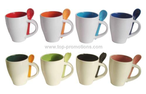 Promotional Lovely Ceramic Coffee Cup With Spoon
