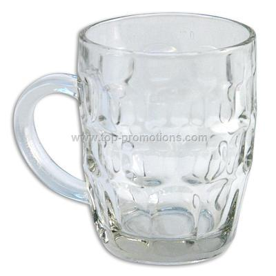 16oz.Glass Beer Mug w/ Embossed Circles