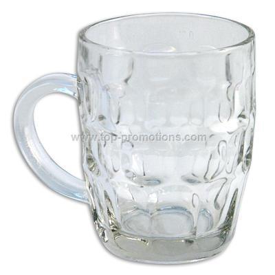16oz.Glass Beer Mug w/ Embossed Circles