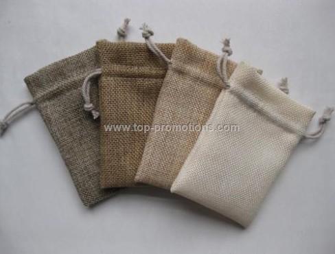 Burlap drawstring bag with single drawstring