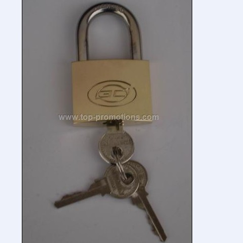 Brass padlock with key