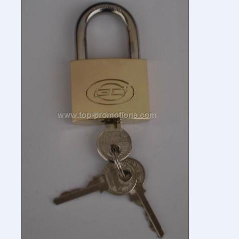 Brass padlock with key