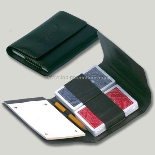 PVC Leather Organizer Set With Playing Cards