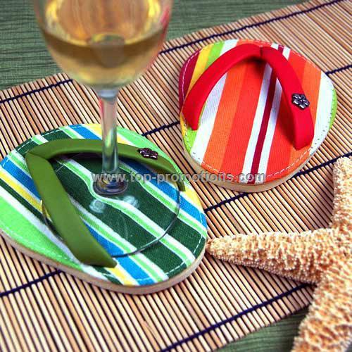 Cabana Stripes Flip Flop Coasters