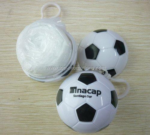Disposable PE rain poncho ball with keyring