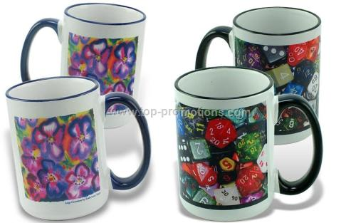 Sublimation Mug, 15oz Color Trim  Handle