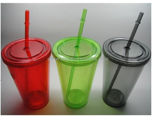 Double Wall Plastic Cup with Straw