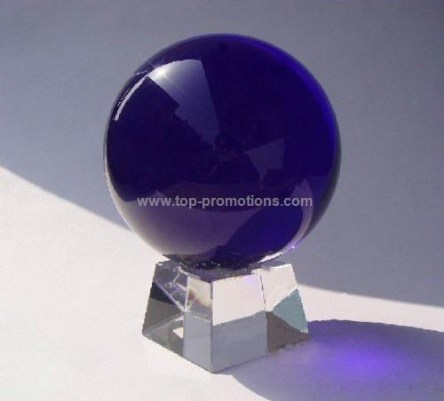 Blue Crystal Globe With Base