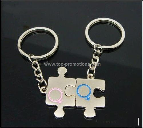 Metal puzzle lovers keychain