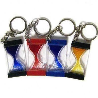 Plastic Liquid Sandglass Timer Keychain