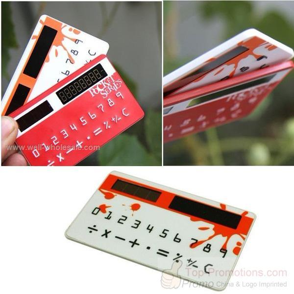 Mini White Solar Power Credit Card Style Pocket Calculator