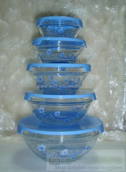 clear glass bowls with decals