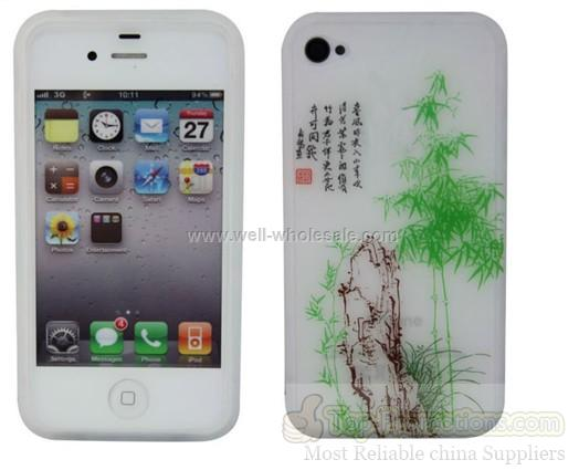 Promotional white silicone cell phone cover for iphone 4G