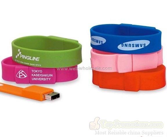 soft pvc 2GB bracelet style usb promotional product