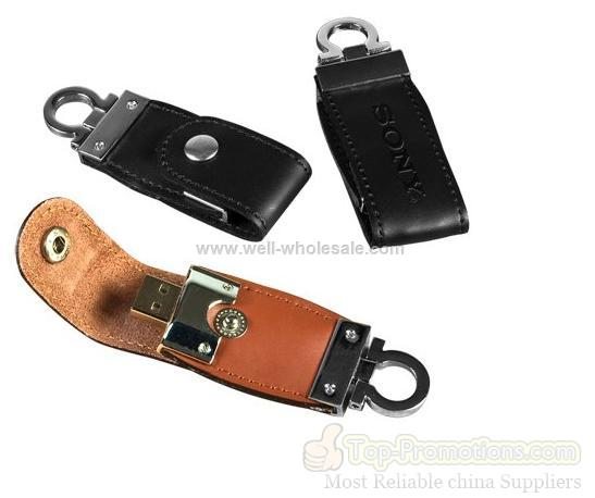 Logo Print Leather Usb