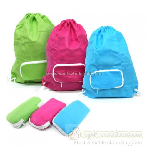 Foldable Drawstring Bag w Zip