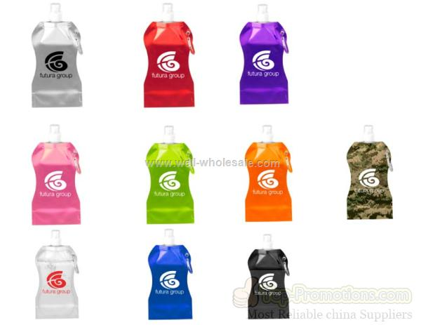 Promotional Wave Shaped 16.9 Oz. Collapsible Water Bottle with Carabiner