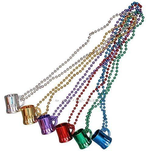 Beer Mug/Metallic Beads Necklace