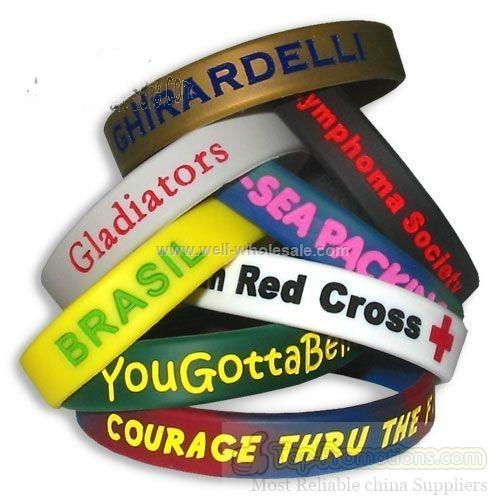"1/2"" laser engraved Color Filled silicone wristbands"