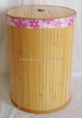 Folding bamboo laundry basket