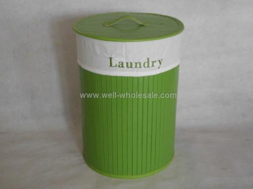 collapsible folding bamboo laundry basket for new style