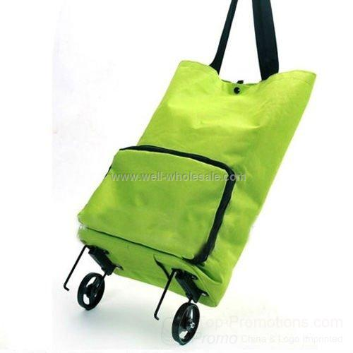 Green fashion folding wheeled shopping bag