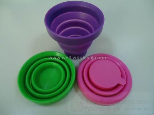 Travelling folding silicone cup with cover