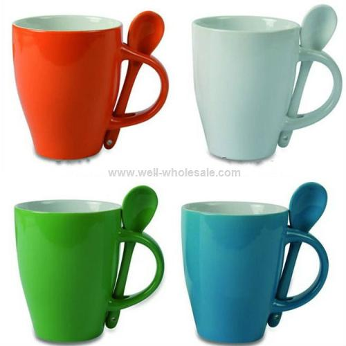 Color glazed ceramic coffee mug with spoon