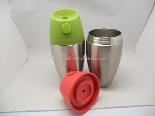 stainless steel travel mug with olive-shape