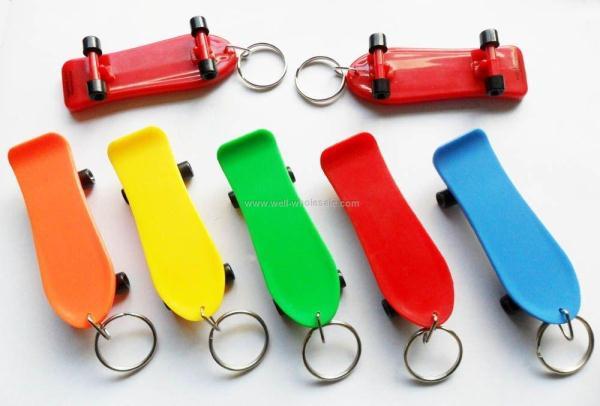 Plastic skateboard keychain
