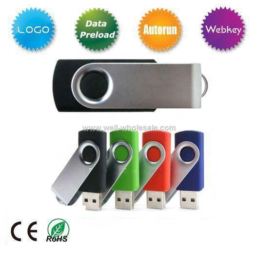 Swivel/twister usb flash drive, plastic and metal usb