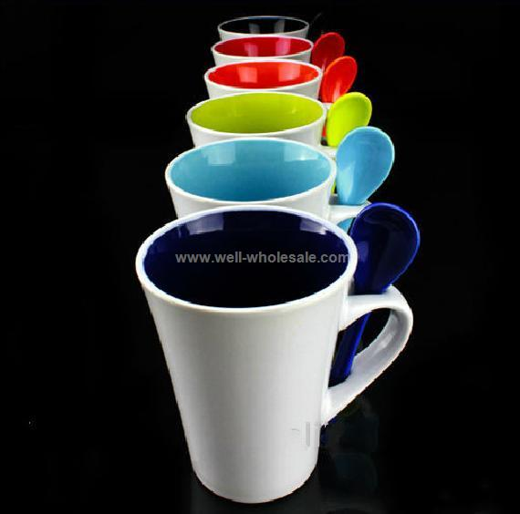 10oz porcelain cup with spoon, ceramic mug spoon