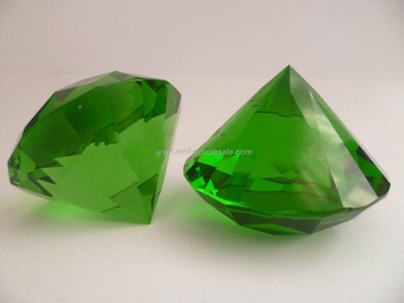 green color crystal diamond paperweight