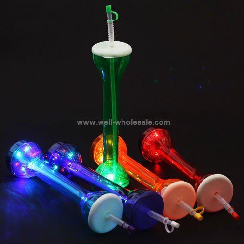 LED Yard Cup,Flashing Straw Bottle