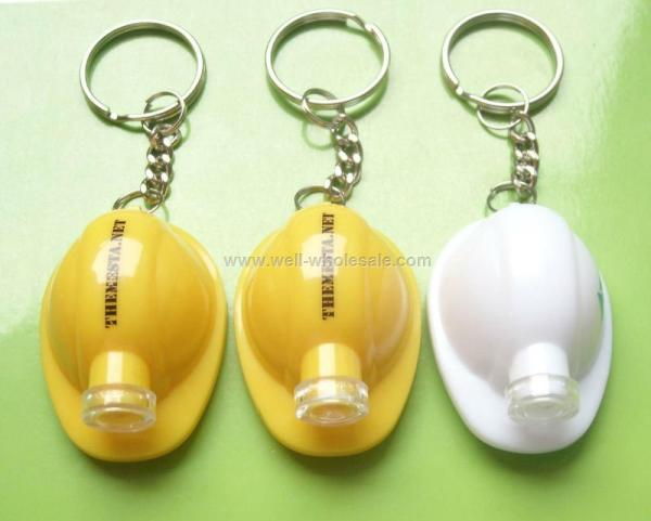 Mini Hard Hat Keychain Light, LED Helmet Keyholder