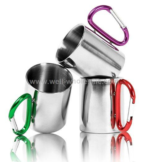 Promotional Stainless steel Coffee Mug travel mugs with Carabiner hook cups