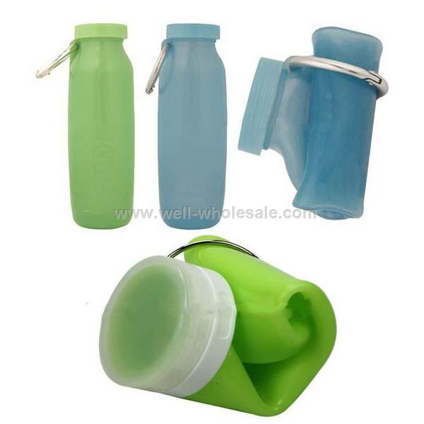 Roll up Collapsible Foldable Travel Silicone Water Bottle